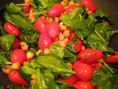 Chick Pea, tomato and spinach stir fry.