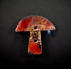 Small Fired Copper Mushroom with Dewdrop Brooch by RAEDREAM