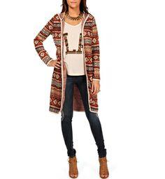 Orange Long Tribal Jacket