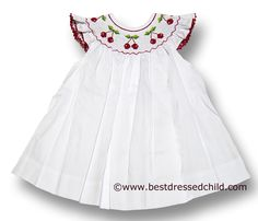 Betti Terrell Girls White Bishop Dress with Flutter Sleeves & Smocked Red Cherries