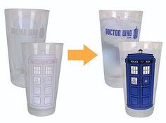Doctor Who Disappearing TARDIS Pint Glasses :: ThinkGeek