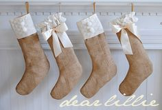 Dear Lillie: Another Quick Christmas Project and the Winner of the Briar Hat!  Love the burlap idea for these stockings