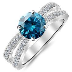 0.95 Carat Designer Split Shank Double Row Contemporary Diamond Engagement Ring 14K Gold with a 0.5 Carat Round... $1,160.00 #HoustonDiamondDistrict