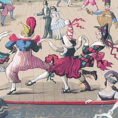 Cabaret Wallpaper From Cole & Son's Whimsical Collection this highly unusual archive design, Cabaret is an exuberant wallpaper with a strong narrative. With its carnival imagery and colouring, featuring a theatrical scene of whirling dancers.