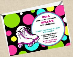 Free roller skating party invitation template to print printable 4x6 roller skate birthday party invitation filmwisefo Gallery