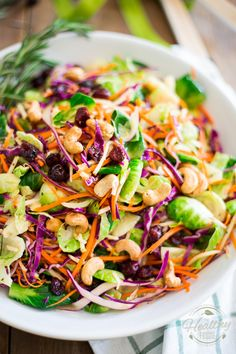 This Colorful Brussels Sprouts Salad has so much to offer, with its beautiful vibrant colors, subtle flavors and bold textures, you'll lov. Sprout Recipes, Vegetable Recipes, Vegetarian Recipes, Healthy Recipes, Healthy Sauces, Sprouts Salad, Shaved Brussel Sprout Salad, Salad Dressing Recipes, Recipes