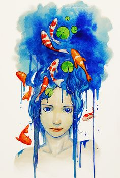 Koi Pond by Qinni.deviantart.com on @DeviantArt