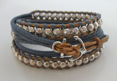 Silver beaded wrap bracelet with steel blue cotton cord