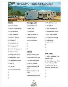 RV Departure Checklist - Camping Tips and Tricks organization hacks food Suv Camping, Camping Ideas, Rv Camping Tips, Travel Trailer Camping, Camping Supplies, Rv Travel, Camping With Kids, Family Camping, Outdoor Camping