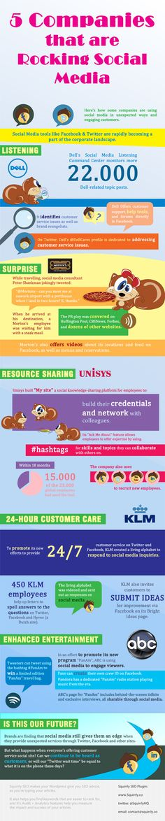 5 Companies that are Rocking Social Media   #SocialMedia #infographic. www.letsgetoptimized.com