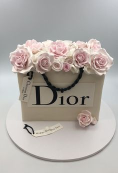 Personalised Dior birthday paper bag filled with handmade sugar roses. 50th Birthday Cake For Women, 19th Birthday Cakes, Birthday Cake Roses, Elegant Birthday Cakes, Beautiful Birthday Cakes, Designer Birthday Cakes, Chanel Birthday Cake, 22 Birthday, Birthday Sayings