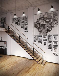 Industrial Loft With Organic Traits Visualized Iron Fleur De Lis Wall Decor Industrial Stairs, Industrial Pendant Lights, Industrial Living, Pendant Lighting, Fall Wood Projects, New Modern House, Loft Flooring, Vintage Industrial Decor, Entry Way Design