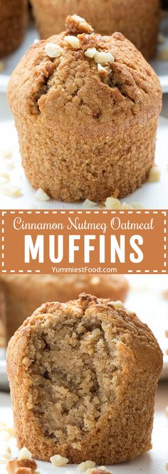 If you are looking for easy and healthy recipes using oats Cinnamon Nutmeg Oatmeal Muffins is the one! These delicious muffins will be your new favorite healthy breakfast or snack! - Muffins - Ideas of Muffins Healthy Muffin Recipes, Healthy Muffins, Gourmet Recipes, Baking Recipes, Dessert Recipes, Oats Recipes, Healthy Food, Healthy Meals, Healthy Eating