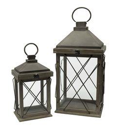Distressed Wood Lantern with Metal Lid, Set of 2