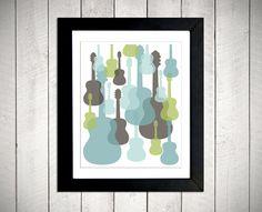 Nursery art idea.    Modern Guitars Nursery Wall Art  Blue/Green/Grey by metrobabycards, $42.00