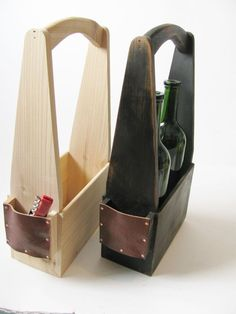 Handmade two bottle wine carrier in signature by WoodaCooda #woodworkinggifts