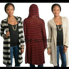 """Hoodie sweater cardigan duster hooded coverup NEW *Retail new without tags. Lightweight hood sweater. knit fabric. Long  sleeves, cardigan hooded open front. SLEEVE LENGTH=24"""" Total length:37"""" ‼️Only Black / Burgundy combo is available.  *PRICE IS FIRM UNLESS BUNDLED Boutique Sweaters Cardigans"""