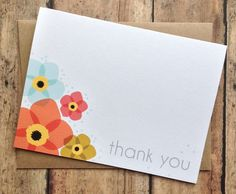Thank you card with Kraft envelope  floral design by PrintSmitten, $4.25  These are adorable! I've been wanting more and cuter thank you cards