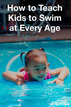 Here's how to help your child learn to swim and take to the water like a fish at every age. Teach Toddler To Swim, Toddler Swimming Lessons, How To Teach Kids, Baby Swimming, Swim Lessons, Swimming Games, Swimming Posters, Swimming Coach, Swimming Tips