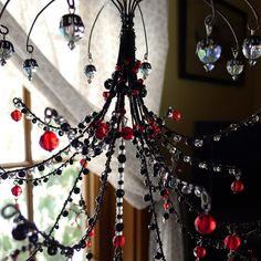 A Gothic Red Sunshowers Chandelier