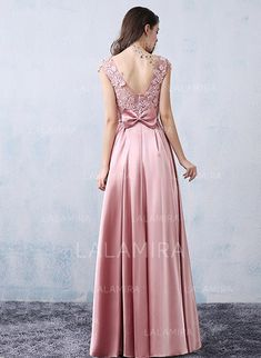 A-Line/Princess Satin Prom Dresses Beading Bow(s) Scoop Neck Sleeveless Floor-Length Cute Prom Dresses, Mermaid Prom Dresses, Elegant Dresses, Girls Dresses, Flower Girl Dresses, Bridesmaid Dresses, Long Dresses, Maroon Prom Dress, Evening Dresses Plus Size