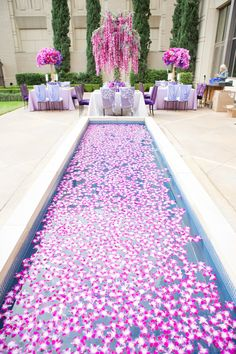 Elegant Jewel-Toned Inspirational Wedding Shoot in Dallas, Texas Pool Wedding Decorations, Tall Wedding Centerpieces, Wedding Themes, Wedding Events, Fall Wedding Colors, Purple Wedding, Wedding Flowers, Dream Wedding, Wedding Day