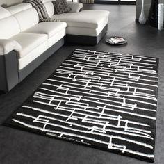 Designer Teppich Moderner Trendiger Kurzflor Teppich Tetris in Schwarz Weiss