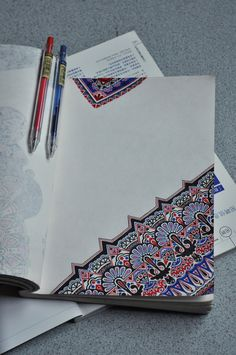 What a gorgeous zentangle!  Red blue black... I hope those aren't ballpoint pens though Their ink often fades/discolors quickly and that's be a shame with this