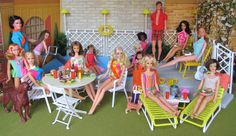 Pool Party in the Backyard of Barbie's 1963 Dream House (This Barbie pool set is from the 1980's, but it looks appropriate with these 1960's dolls.)