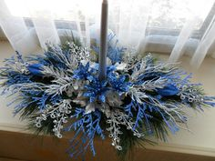 Christmas Center Piece in Blue/Silver by ChritmasCrafts on Etsy