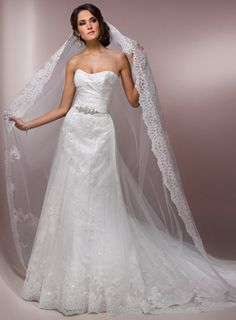 Gorgeous Strapless A-line Chapel Train bridal gowns