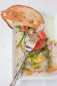 © Michael Turek  Sea Bass Carpaccio with Coriander and Grapefruit Recipe  Contributed by Didem Senol  Click here for full recipe