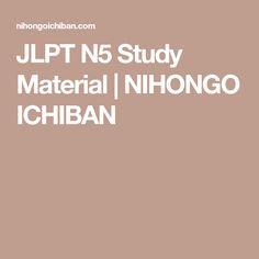 JLPT N5 Study Material | NIHONGO ICHIBAN
