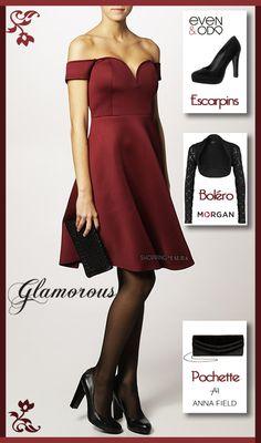 Canon la petite robe du soir bordeau avec son superbe décolleté et ses petits bouts de manches...La taille est bien marquée et sa jupe évasée. Une robe super glamour signé Glamorous d'ailleurs !