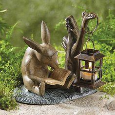 Reading Rabbit Garden Lantern