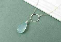 Aqua Chalcedony and Sterling Silver Eternity Circle, Lariat Style - $31.00 on Etsy
