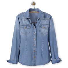Washed Denim Snap Shirt - Women's Clothing, Jewelry, Fashion Accessories & Gifts for Women with a Flair of the Outdoors   NorthStyle