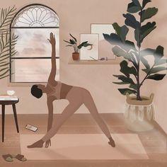 Art And Illustration, Illustrations, Cartoon Kunst, Cartoon Art, Black Girl Art, Art Girl, Yoga Kunst, Yoga Art, Cute Art
