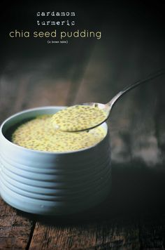 [ Recipe: Cardamom Turmeric Chia Seed Pudding ] Made with: turmeric powder, water, chia seeds, green cardamom (fresh ground), sugar, almond milk, and rose water. ~ from A Brown Table