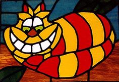 Stained glass Cheshire cat