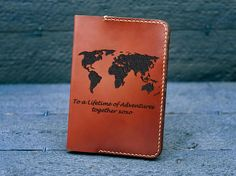 Leather Passport Wallet / Personalized passport wallet / Leather Passport Cover / Engagement gift / Couple Gift / World Map- 3rd Anniversary Gifts, Marriage Anniversary, Leather Passport Wallet, Engagement Gifts For Couples, Passport Holders, Passport Cover, Last Minute Gifts, Gifts For Husband, Couple Gifts