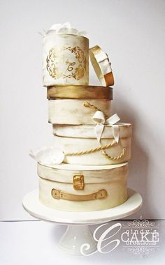 Cindy's Cake Creations - rustic cream and gold tiered hat box cake Hat Box Cake, Gift Box Cakes, Gift Cake, Beautiful Cake Designs, Beautiful Cakes, Amazing Cakes, Girly Cakes, Fancy Cakes, Cake Decorating Magazine