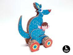 Amazing handmade kangaroo toy made of cardboard.