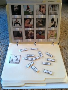 """Action words matching to pictures. Laminate to file folders,,Velcro, and place in a 3 ring binder. Easy organized tasks. Find this at """"Inspired by Evan"""" autism resources in TPT website. www.teacherspayte..."""