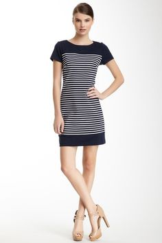 Laundry By Shelli Segal Striped Ponte Tee Dress by White Hot Summer on @HauteLook
