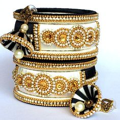 Beautiful Silk Thread Designer Party Wear / Traditional / Fancy Bangles with Matching Indian Traditional Jhumka Earrings This is a handcrafted Silk thread Jewellery set Which include jhumka type earrings & bangles. Size Of Bangles : 2.4 / 2.6 / 2.8/ 2.10 available  2/4 (2.25 inches of Silk Thread Bangles Design, Silk Thread Necklace, Silk Bangles, Beaded Necklace Patterns, Thread Bracelets, Bridal Bangles, Thread Jewellery, Jewelry Patterns, Bridal Earrings