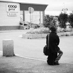 Man sitting on his suitcase wating for the bus in Vadsö North Norway People Photography, Street Photography, I See It, Man Sitting, Norway, Suitcase, Waiting, Black And White, Pictures