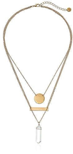 Geo Crystal Triple-Layer Pendant Necklace