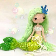 Amigurumi green mermaid. (Inspiration). ♡