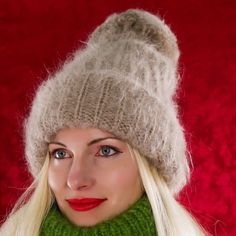 New Hand Knitted Mohair Hat Fuzzy BEIGE Warm Winter Ski Thick Cap by SUPERTANYA #SuperTanya #Ski